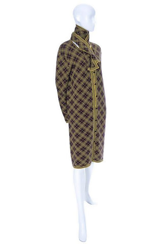 Yellow and brown plaid vintage men's caftan with original Yves Saint Laurent tags