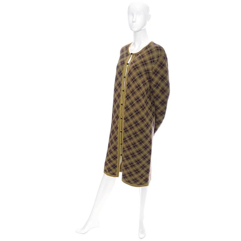 Never Worn men's vintage Yves Saint Laurent vintage plaid caftan in brown and yellow with matching YSL scarf