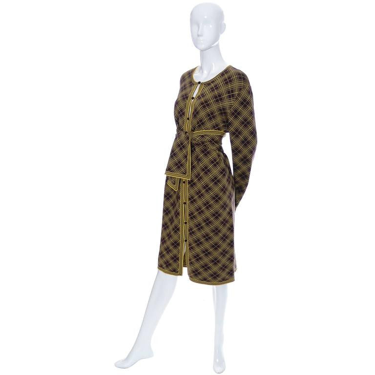 Unisex men's vintage YSL Yves Saint Laurent vintage kaftan with matching scarf in yellow and brown plaid