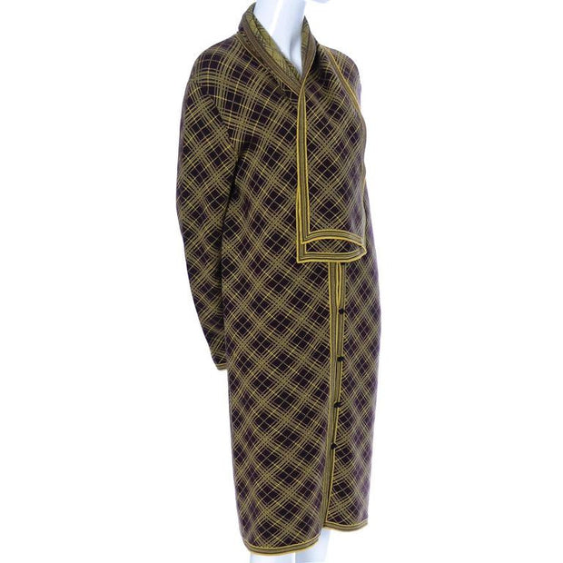 Deadstock Yves Saint Laurent vintage men's plaid caftan and matching scarf