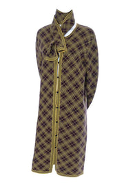 Yellow and brown plaid vintage YSL Yves Saint Laurent men's caftan from the US archives