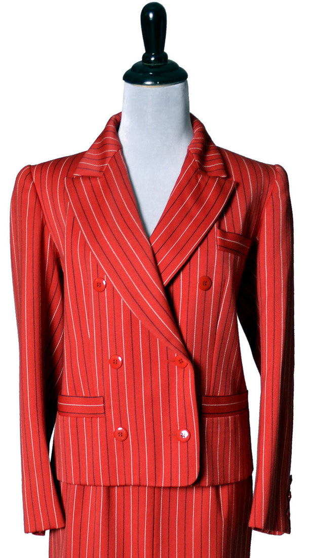 MINT Red Pinstriped Yves Saint Laurent Rive Gauche Vintage Suit - Dressing Vintage