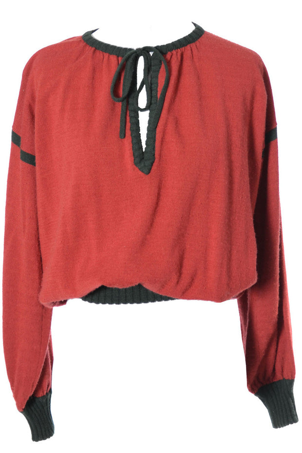 1970's Yves Saint Laurent Vintage Sweater in Red and Green Wool - Dressing Vintage
