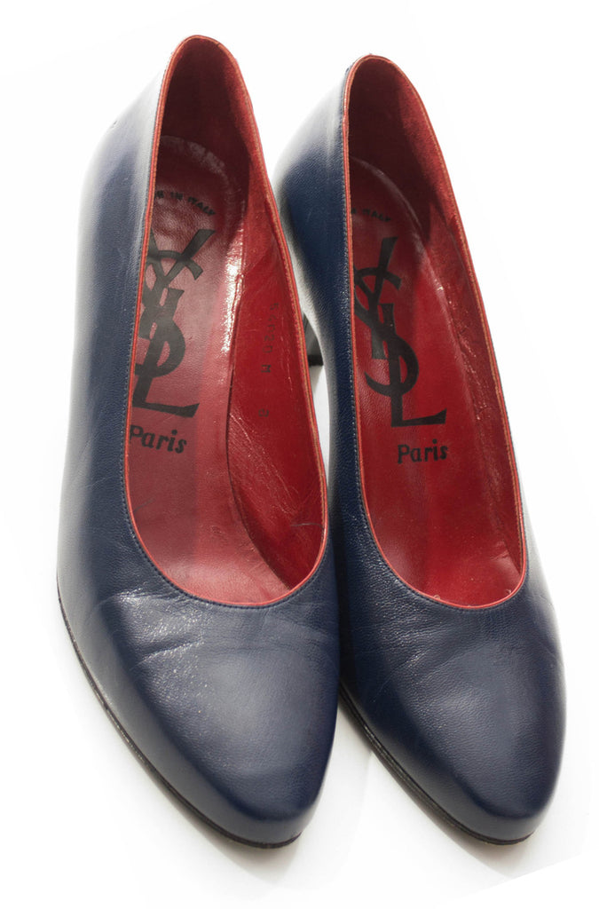 1970s vintage pumps blue YSL shoes