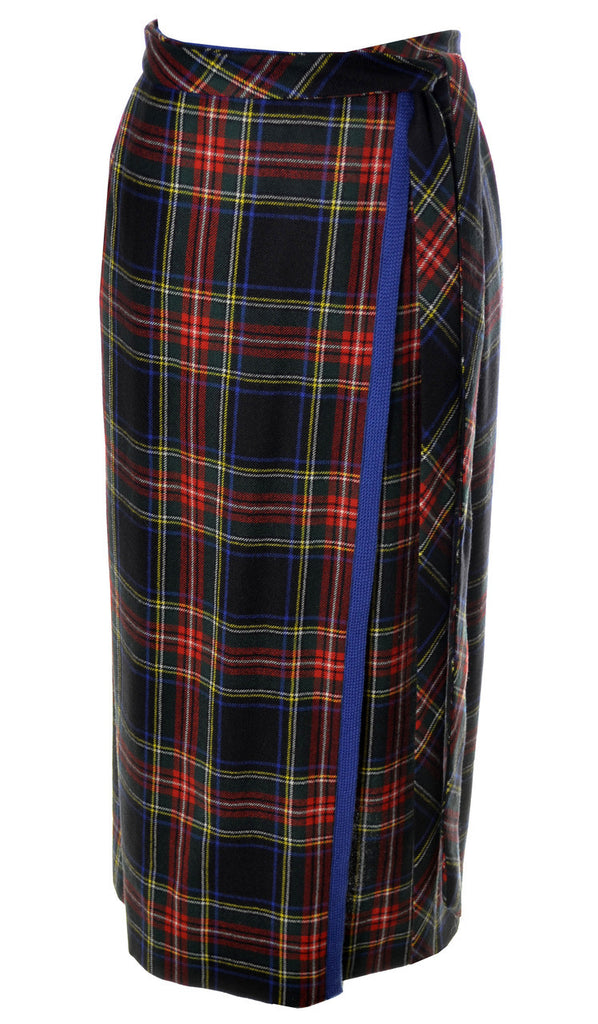 YSL 1970's Plaid Yves Saint Laurent Vintage Skirt in Plaid Wool - Dressing Vintage