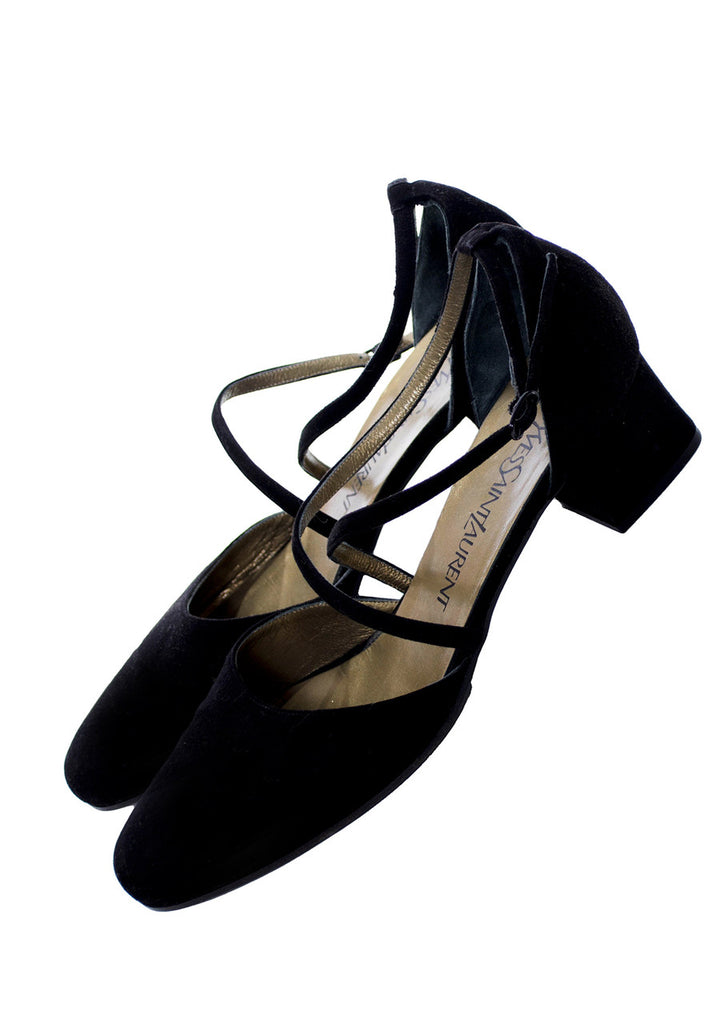 Yves Saint Laurent 1970s vintage black suede shoes