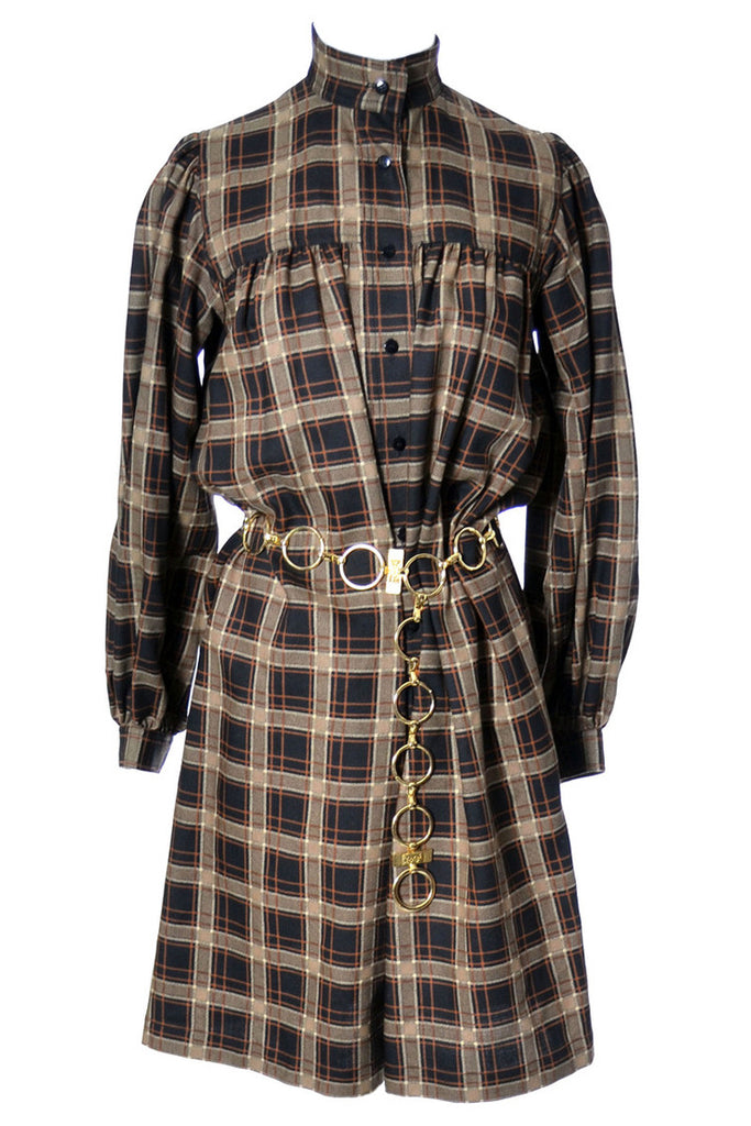 Brown plaid YSL peasant dress