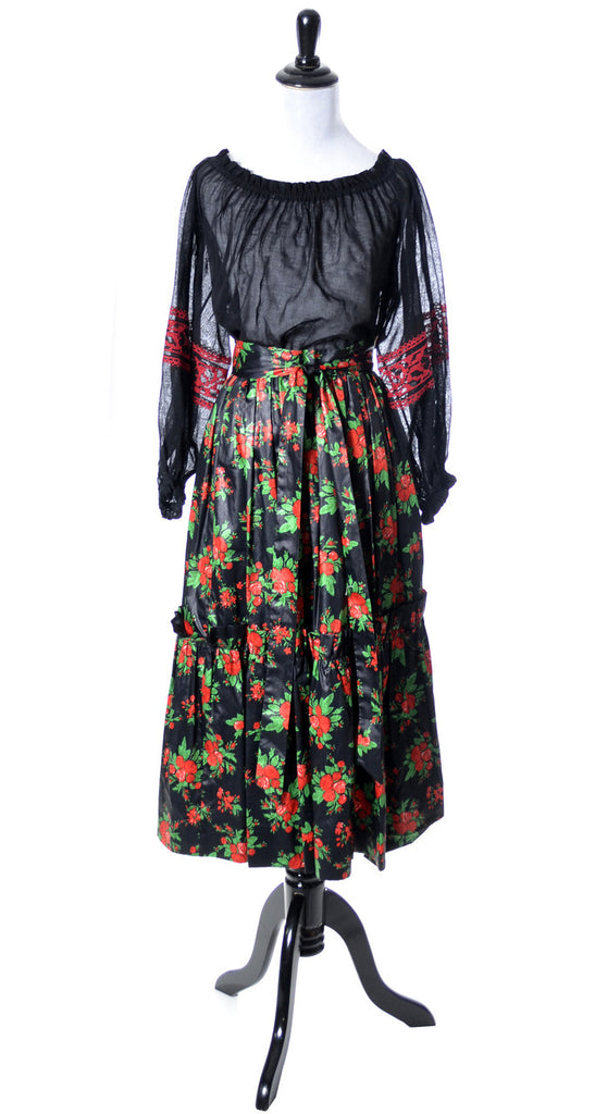 Vintage Yves Saint Laurent Rive Gauche peasant blouse and skirt