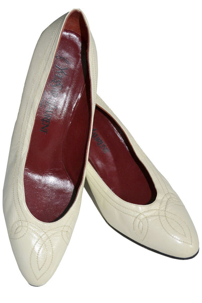1970's Ivory Yves Saint Laurent Shoes 8.5 - Dressing Vintage