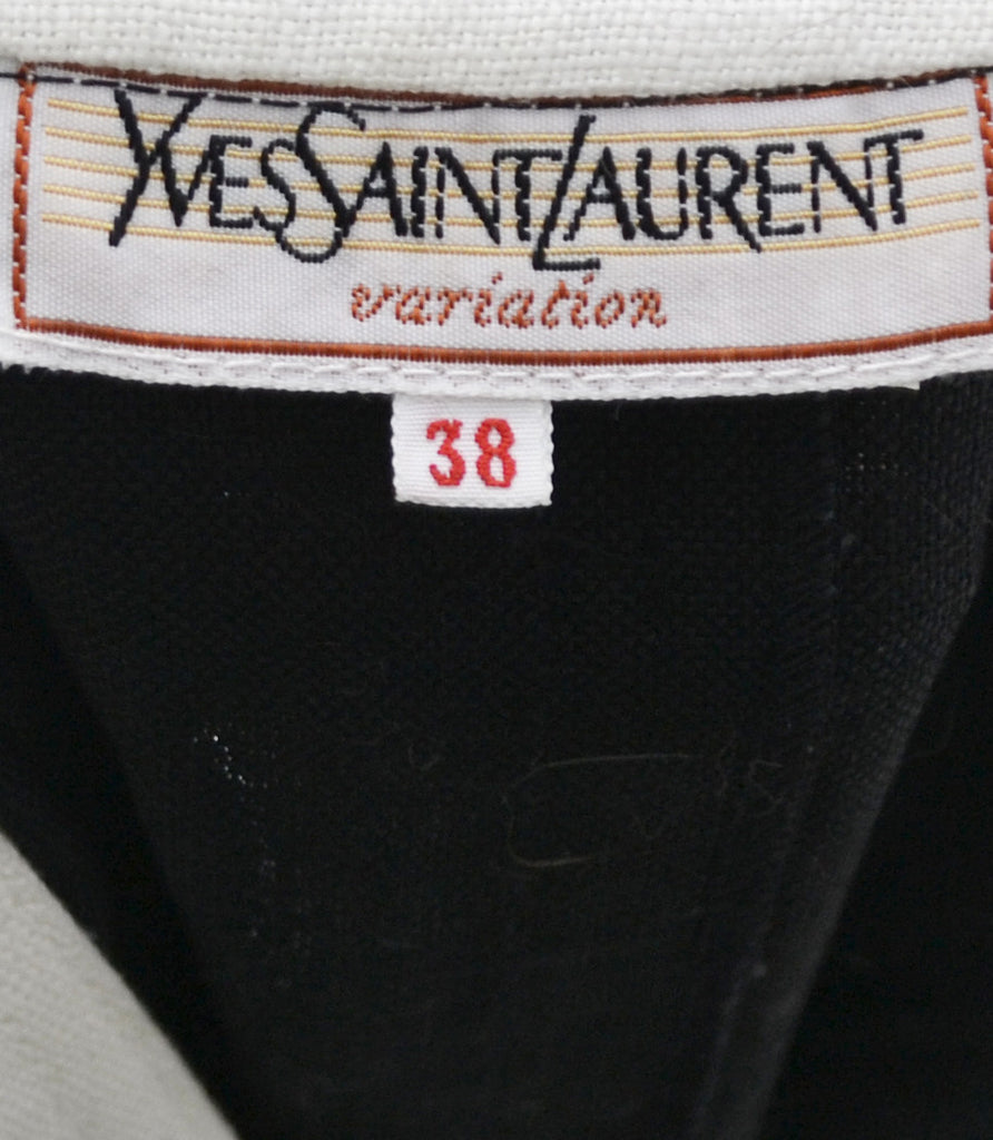 Black and white Yves Saint Laurent vintage linen dress - Dressing Vintage