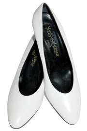 1970's Yves Saint Laurent White Shoes Black Heels 8.5 M - Dressing Vintage