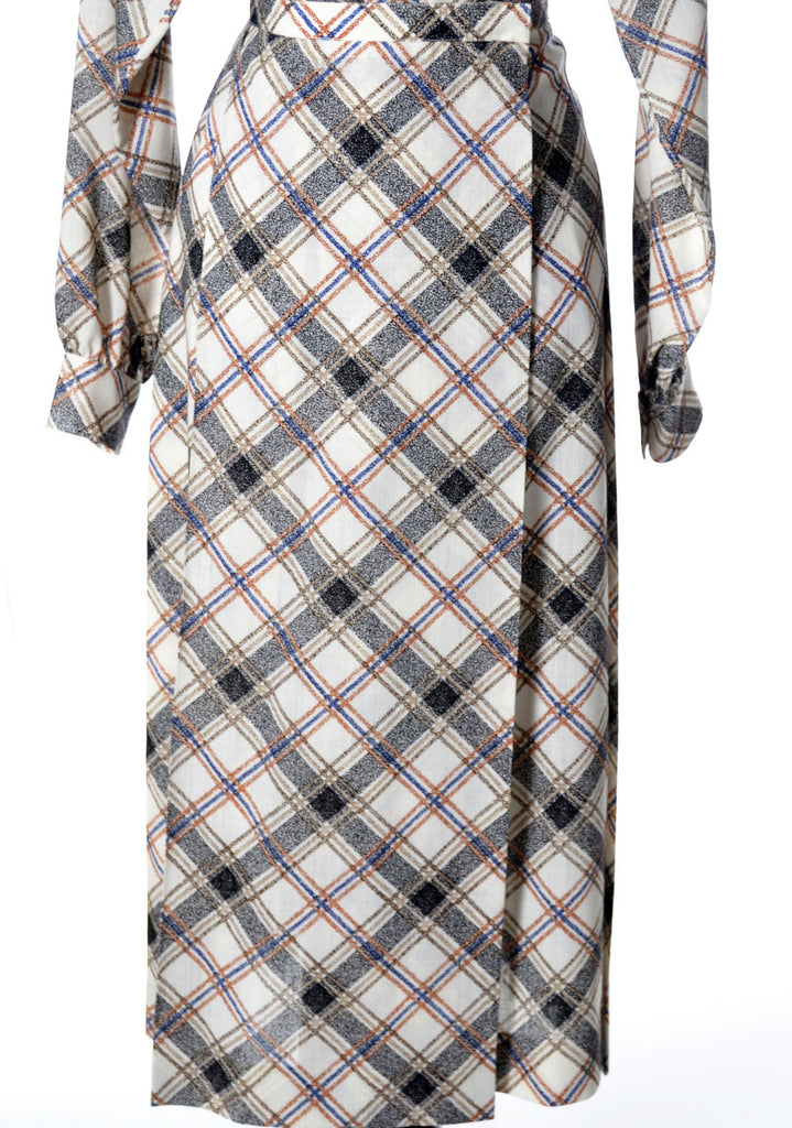 1970's Yves Saint Laurent Rive Gauche Plaid Skirt and Blouse - Dressing Vintage