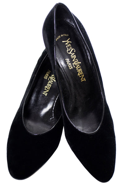 Vintage Yves Saint Laurent Black Velvet shoes 8.5M - Dressing Vintage