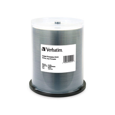 CD-R White Inkjet Hub 52x 100Pk