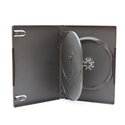 Quad DVD case black with flip