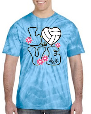 Volley Life® Tie Dyed LOVE Short Sleeve Tee