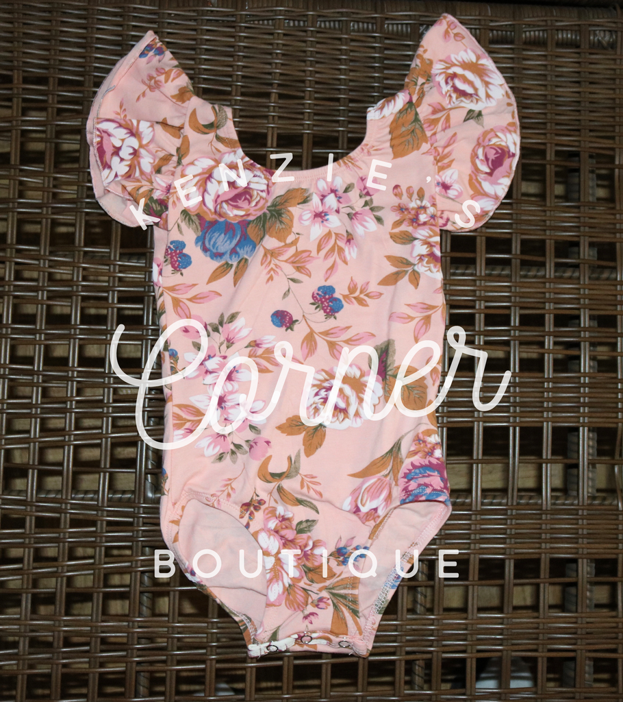 4bdbaab56 Pink floral Flutter Leotard with snaps SMALL MODEL (A7) – Kenzie s ...