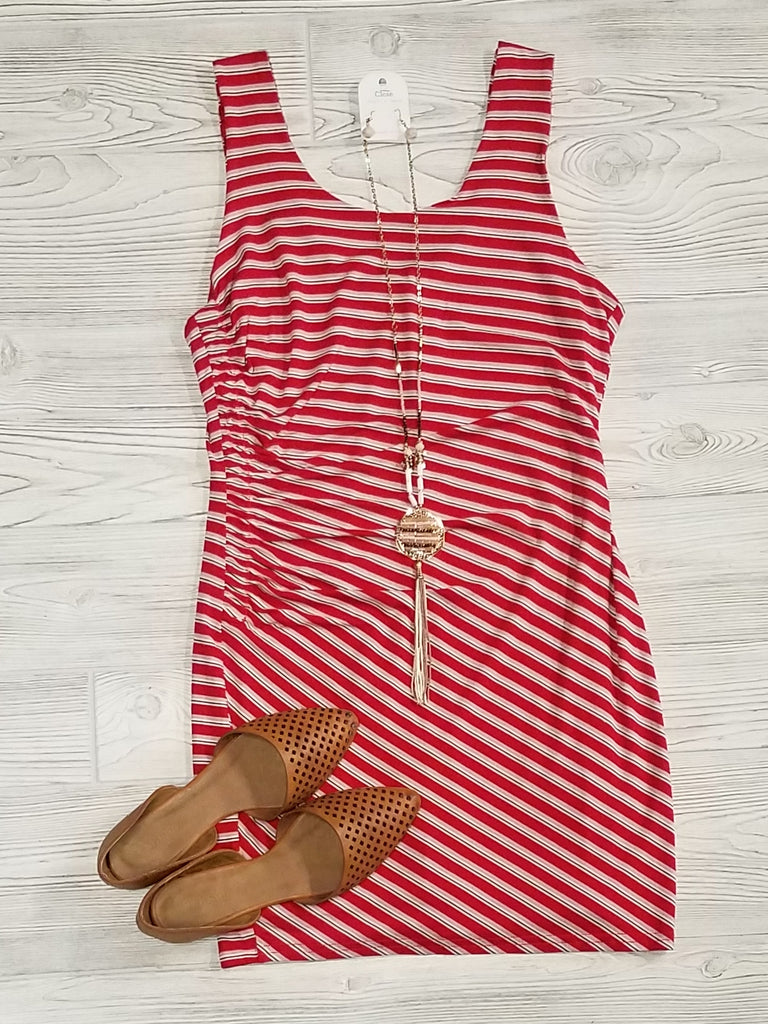 Lori Striped Mini Dress - Red
