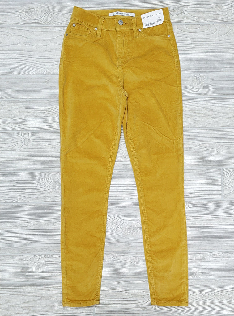 Corduroy CP  High Rise Ankle Skinny- Mustard