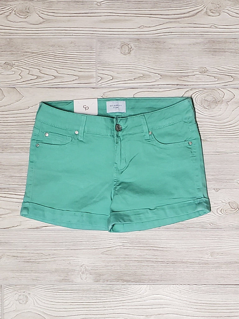 Teal Mid-Rise Shorts