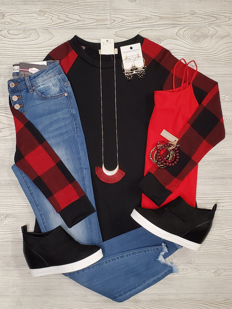 Casey Buffalo Plaid Long Sleeve Tops - Multi