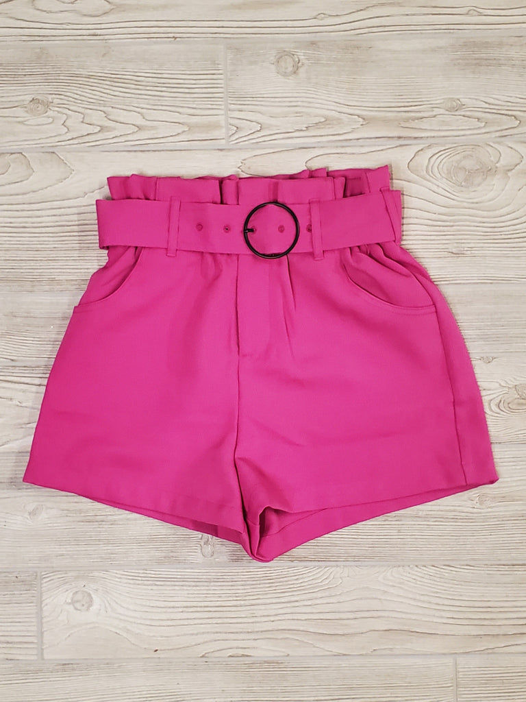 Layna Paper-Bag Shorts - Hot Pink