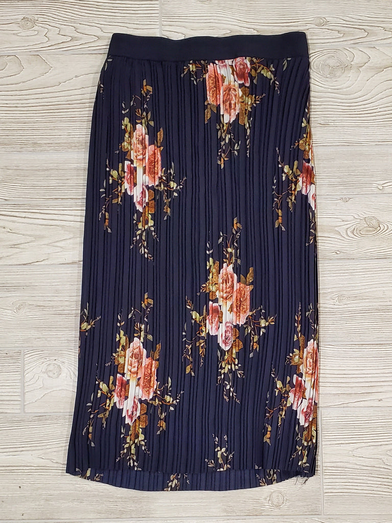 Chelsea Pleated Floral Skirt - Navy