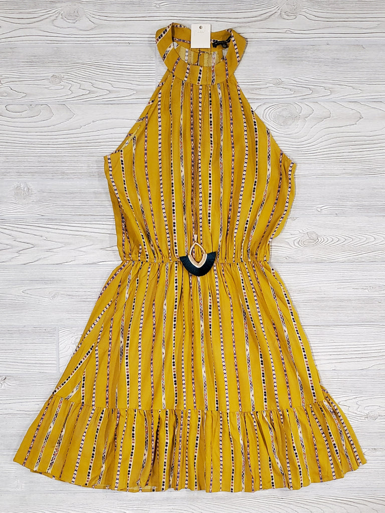 Hattie Mustard Halter Dress