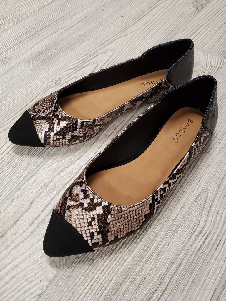 Harlow Reptile Pointed Flats