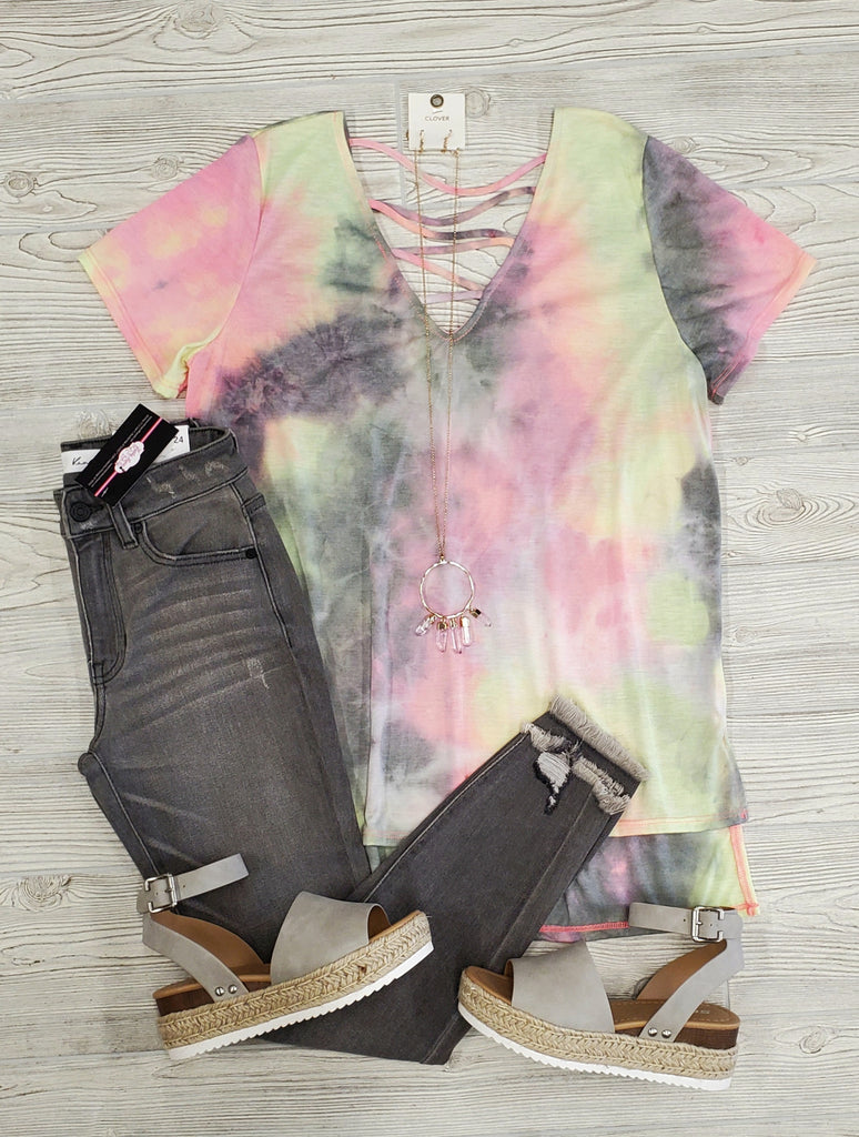 Jessa Tie Dye Crossed Tee - Charcoal
