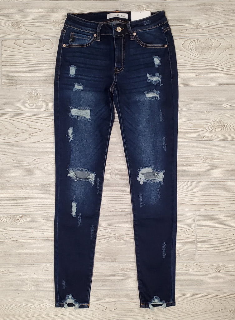 Leisa Distressed Mid-Rise Skinny Denim