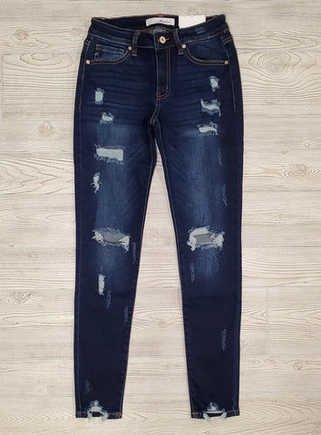 KC High-Rise Mid-Wash Skinny Denim