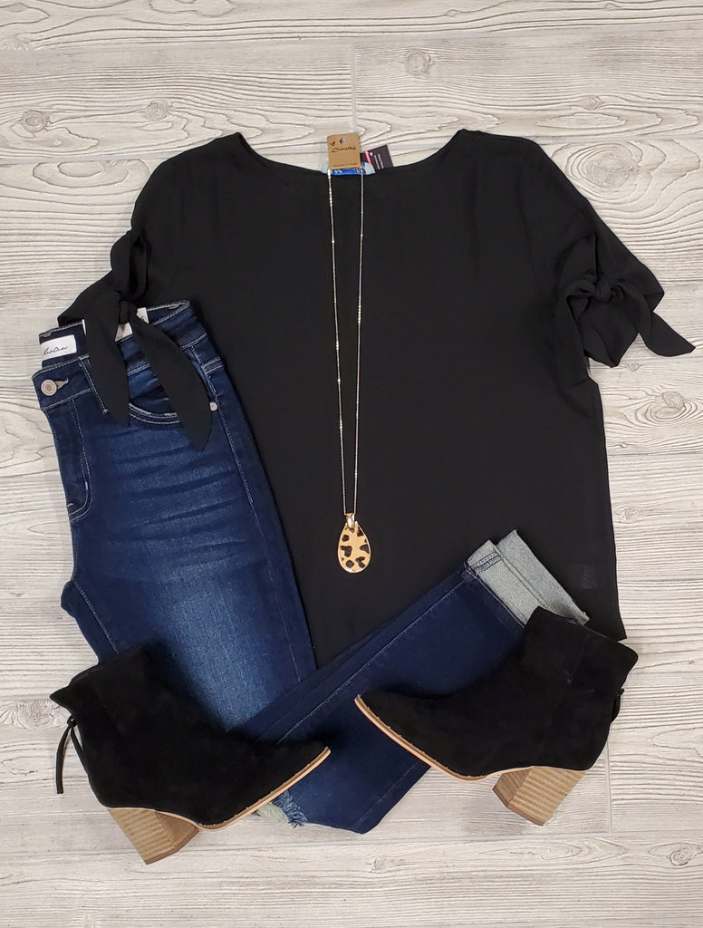 Libby Tied Sleeve Blouse - Black