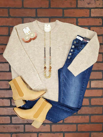 Jessa Rust-Block Lightweight Sweater