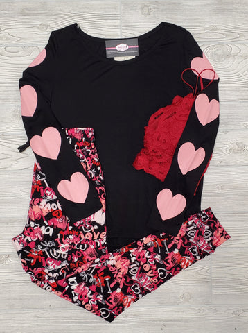 Leopard & Buffalo Plaid LOVE Tee - Ivory