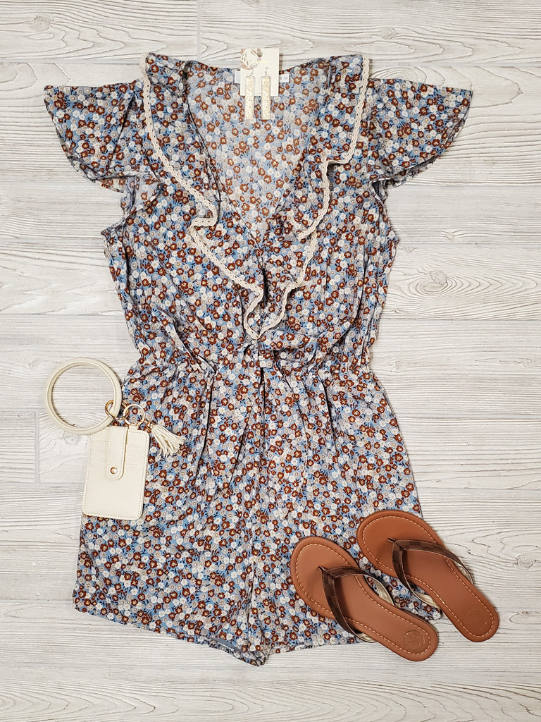 Claire Floral Lace Ruffle Romper