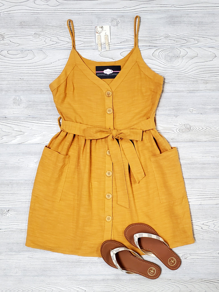 Emmie Tied Button-Dress - Marigold