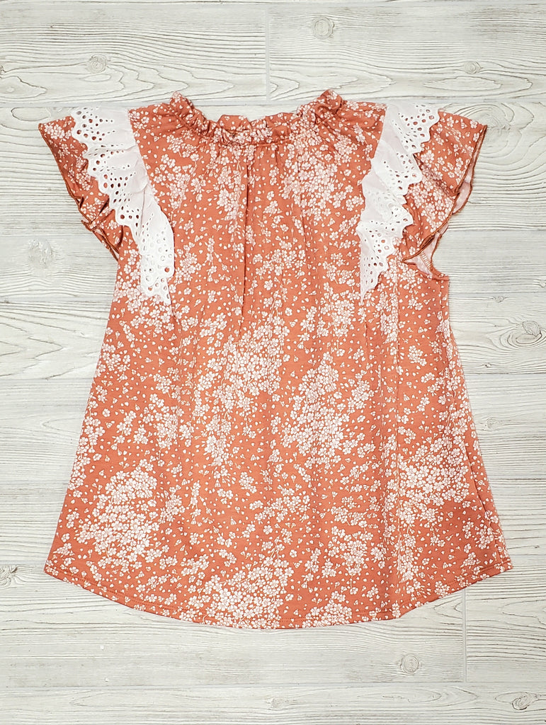 Frannie Peach Top with Lace Eyelet Ruffles