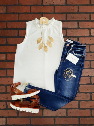 Gwen Tied Tank - Cream/Black