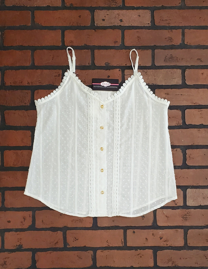 Susie Button Down Accent Tank - Ivory