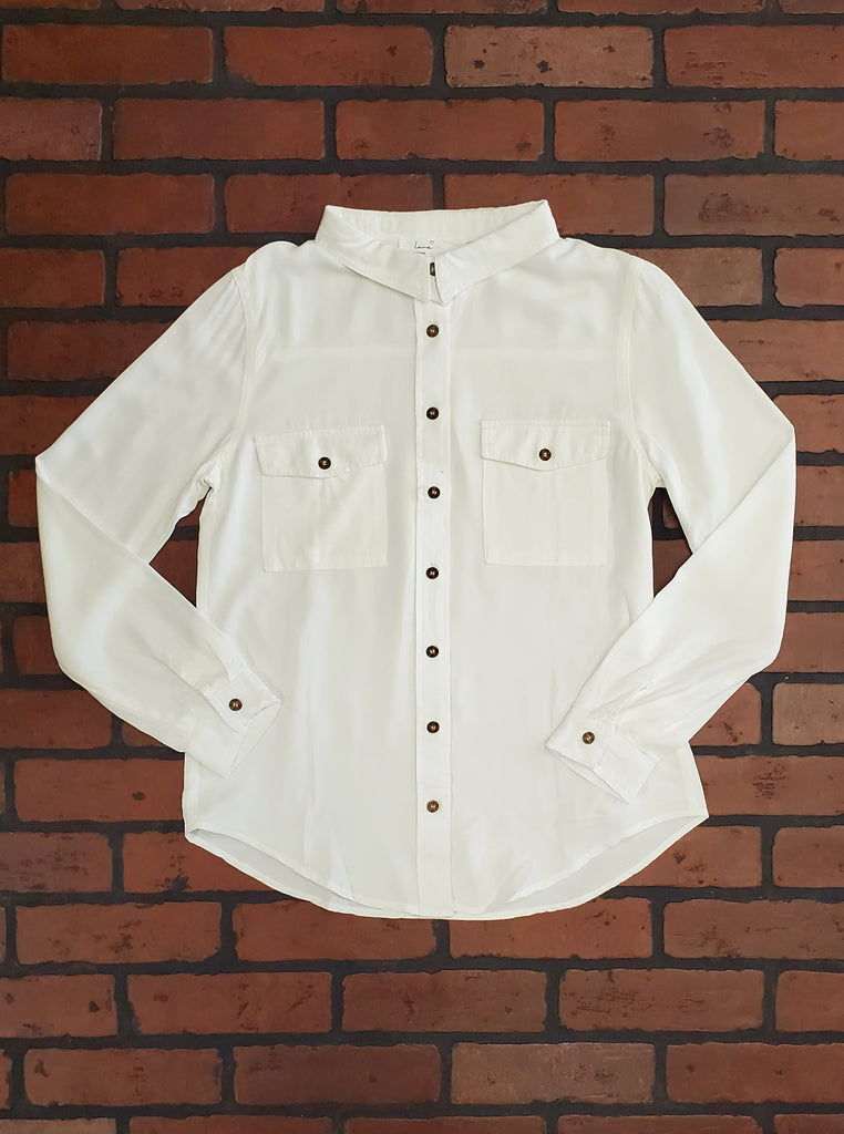 Diane Long Sleeve Button Front Top - Ivory