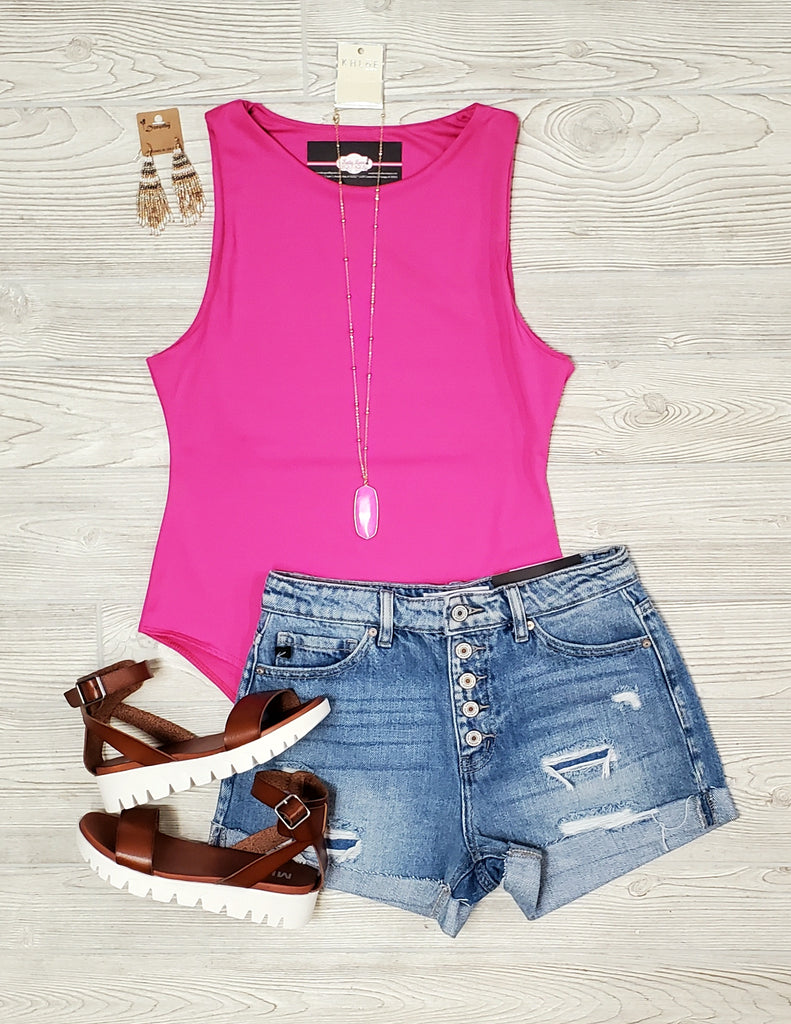Olivia Hot Pink Tank Body Suit