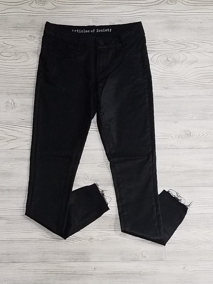 AOS Leather Look Frayed Ankle Skinny