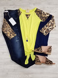 Haley 3/4 Sleeve with Tie - Yellow