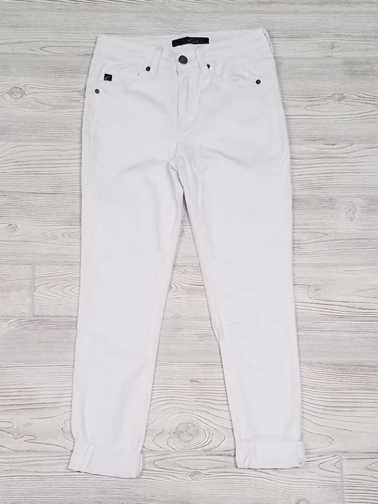 White Denim Rolled Capris