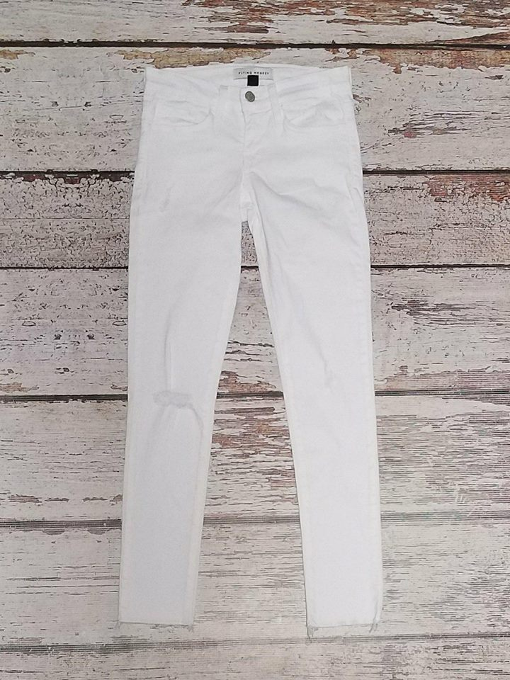 White FM Destructed Crop Denim