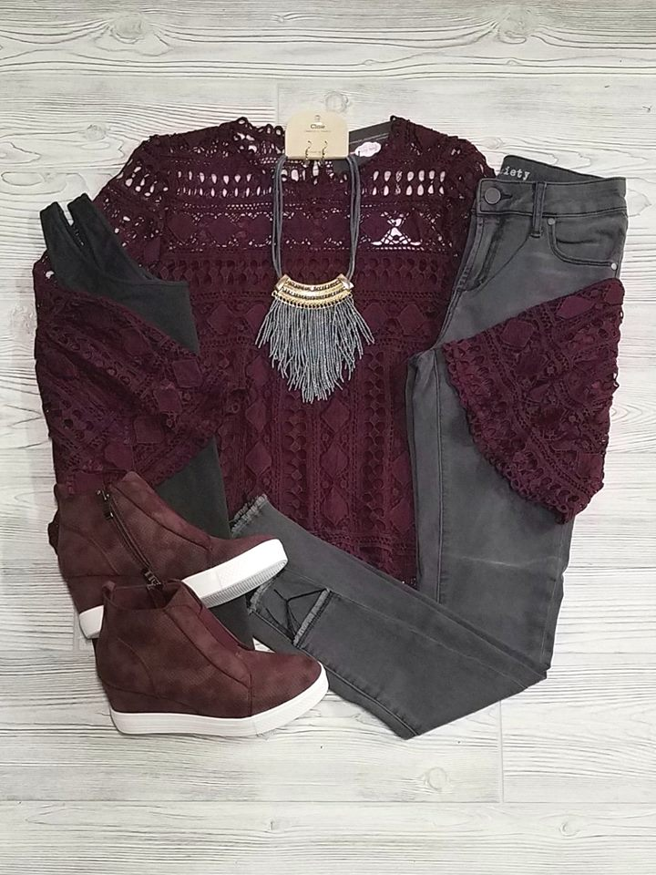 Andrea Lace Bell Sleeve Tops