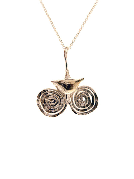 Celtic Bird Pendant with Double Spiral