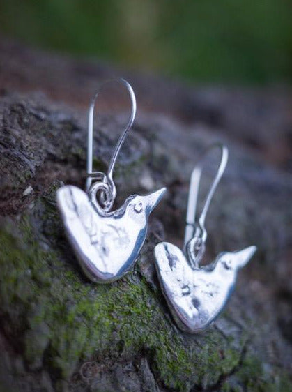 primitive bird earrings