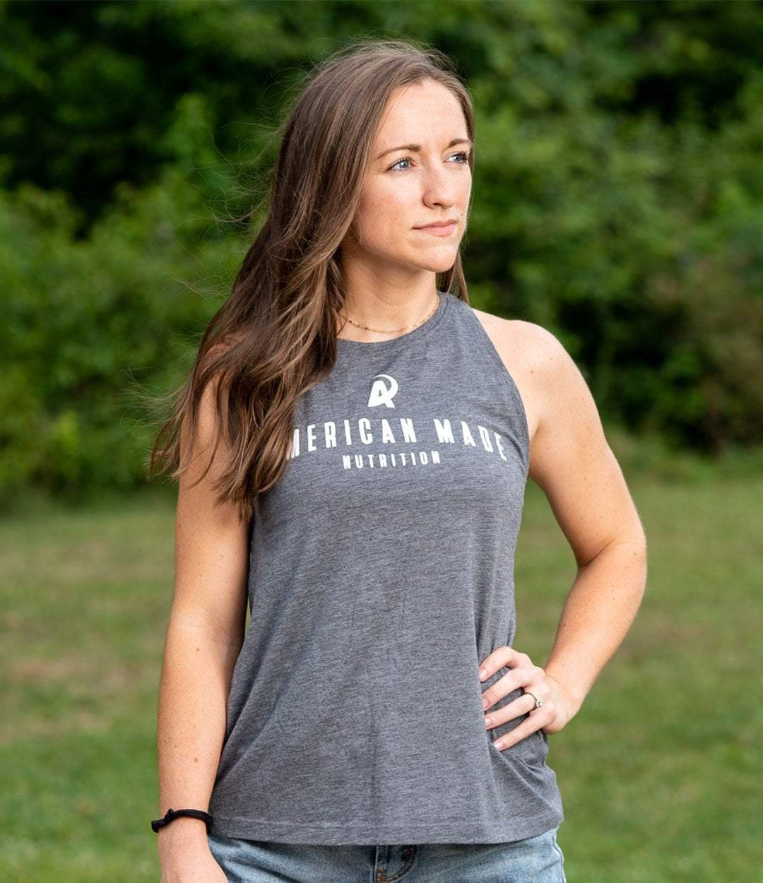 American Made Nutrition APPAREL Ladies Racerback Tank // Heather Gray